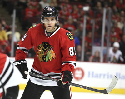 Chicago Blackhawks right wing Patrick Kane (88) readies himself during the third period of his team's game against the Ottawa Senators at the United Center in Chicago on Sunday, Oct. 26, 2014. The Blackhawks won 2-1.