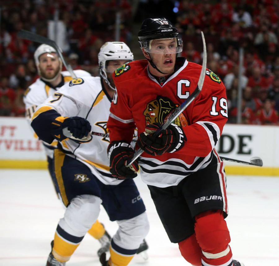 Chicago Blackhawks center Jonathan Toews (19) plays during the third period on Sunday, April 19, 2015, at the United Center in Chicago.