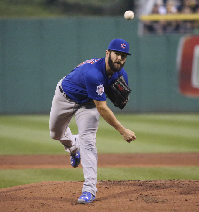 Chicago Cubs pitcher Jake Arrieta throws against the Pittsburgh Pirates during the first inning at PNC Park in Pittsburgh on Wednesday, Sept. 16, 2015.