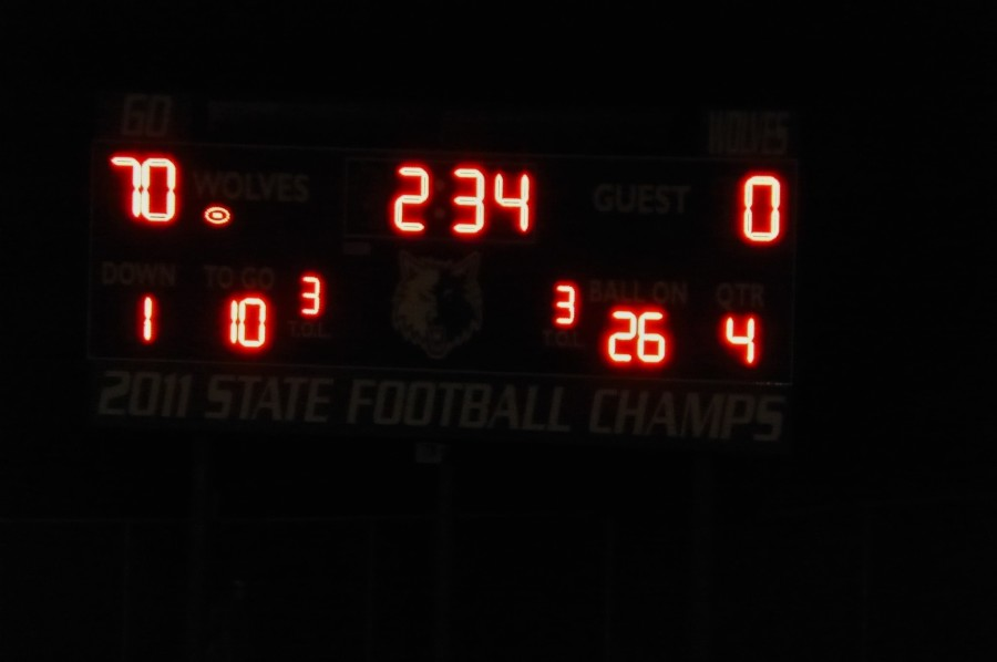 The scoreboard displays 70-0, the final score of the September 4, 2015 home varsity football game vs. Grayslake Central.