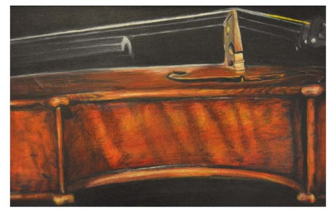 Nikki Eckland's favorite piece [Violin] took 40 hours to complete and reflects her love of music.