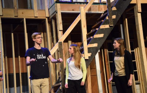Reilly Branson, Gigi Relic, and Mary Kate Willis practice their scene in Noises Off, Prairie Ridge High School's 2015 fall play.