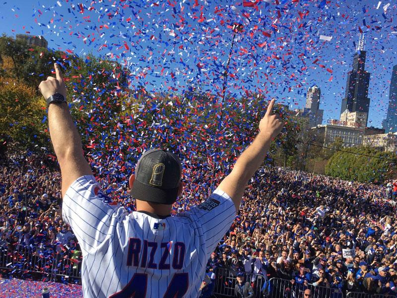 Chicago Cubs first baseman Anthony Rizzo greets the crowd on November 4, 2016, during the World Series celebration in Chicago.
