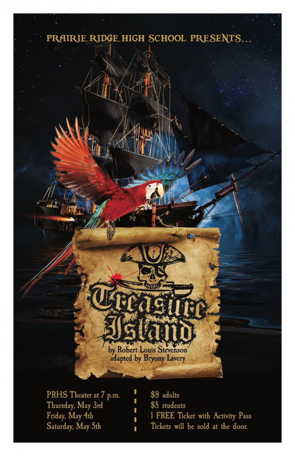 Treasure Island, the spring play, opens May 3 and features the work of over 100 students.