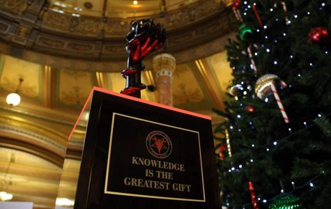 The Satanic Temple-Chicago chapter erected this display in the Illinois capitol, igniting controversy.