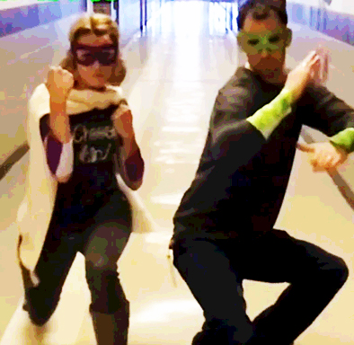 Mrs. Berg and Mr. Powell strike a pose as the new Digital Citizen Defenders.