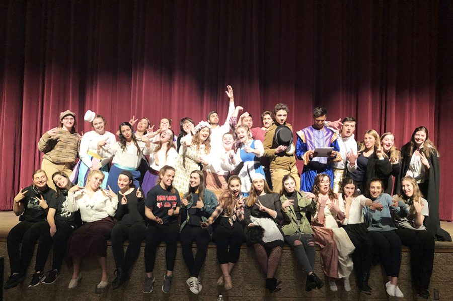 The+cast+and+crew+of+this+year%27s+Senior+Project+musical+pose+for+a+silly+shot.+This+year%27s+show+raised+%241%2C000+for+breast+cancer+research.