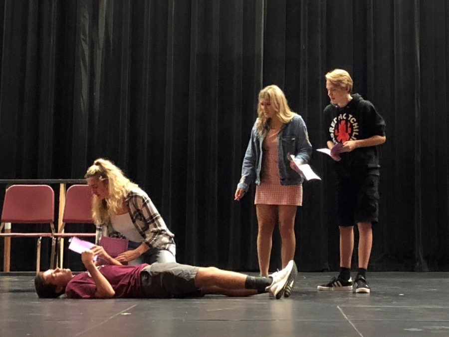 PR students (pictured from left to right) Josh Zakoian, Lily Pyket, Samantha Hemstreet, and Sam Gawronski practice a scene from this falls play Kodachrome, opening October 17.