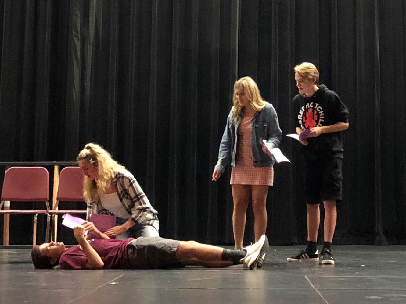 PR students (pictured from left to right) Josh Zakoian, Lily Pyket, Samantha Hemstreet, and Sam Gawronski practice a scene from this fall's play Kodachrome, opening October 17.