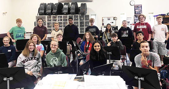 Students in Mr. Blakewell's 2nd period Band posed for a picture recently.