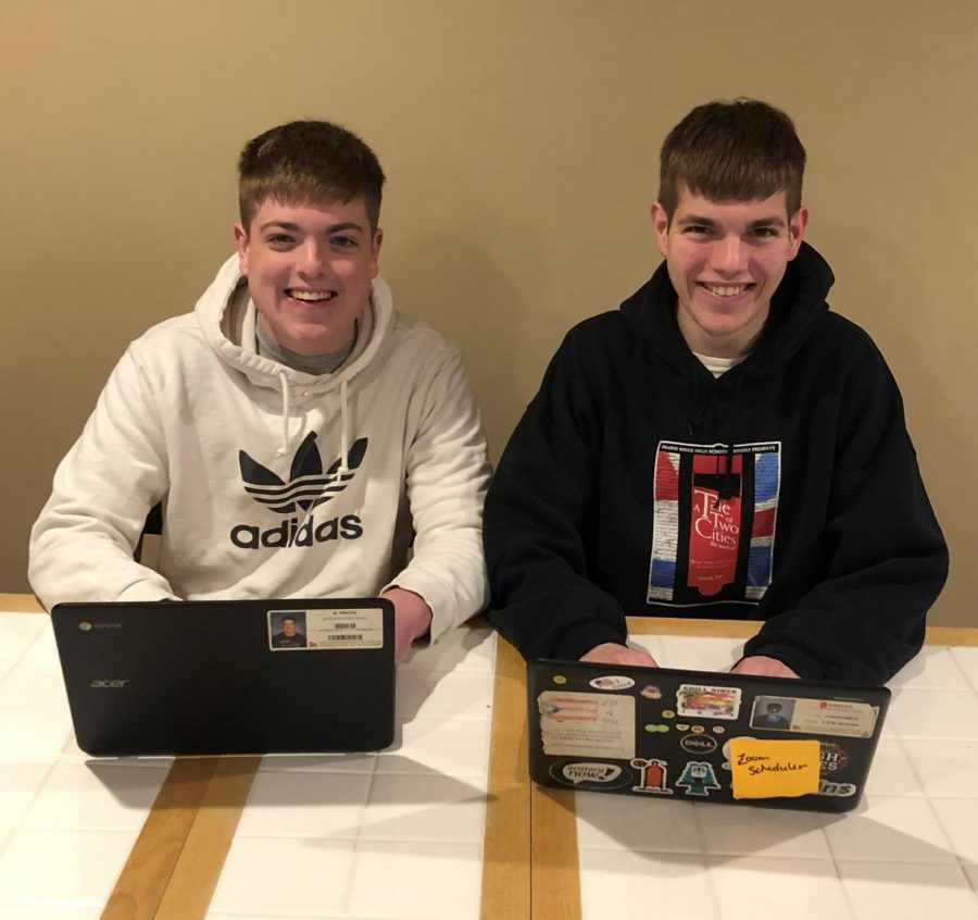 News team members Grant and Collin Preves are spending more time at home together since PR started e-learning days due to COVID-19.