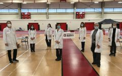 District 155 school nurses pose for a picture before the vaccination clinic on February 12, 2021 at Huntley High School.