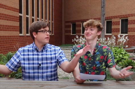 News team anchors Grant Preves and Dimitri Vuyadinov enjoyed filming this weeks broadcast outside from PRs courtyard.